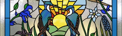 Octagon Stained Glass Birds Window