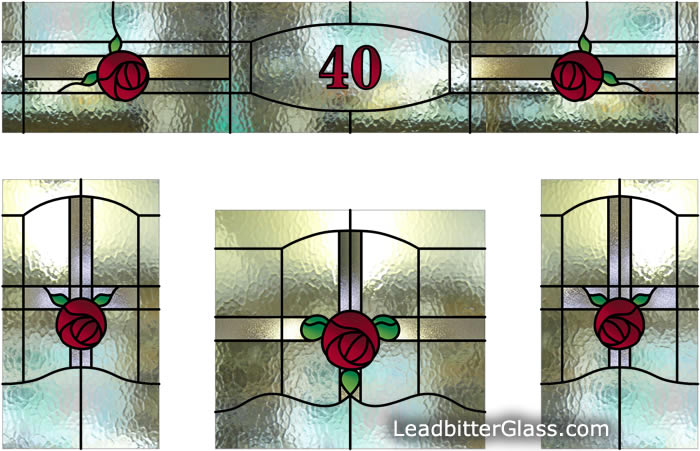 Leaded glass 1930s style door entryway rothwell for 1930s stained glass window designs