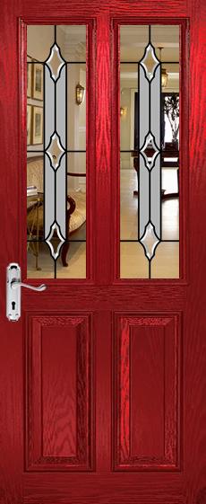 Split Glazed Bevelled Glass Viewed In Red Door