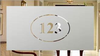 Etched Glass House Number in oval
