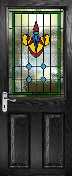 Half Glazed Leaded Glass Panels Viewed In Black Doors