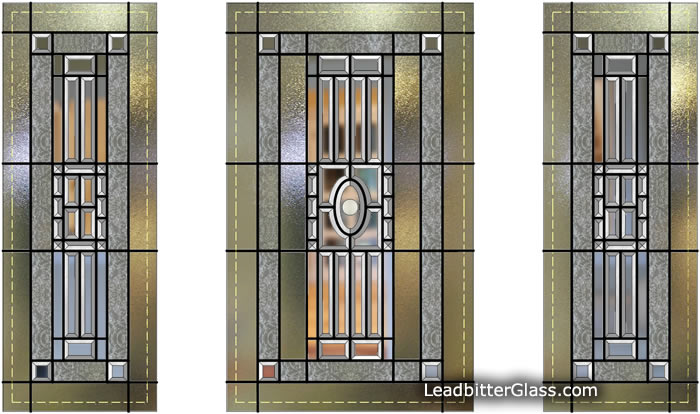 American style bevelled glass door and side panels
