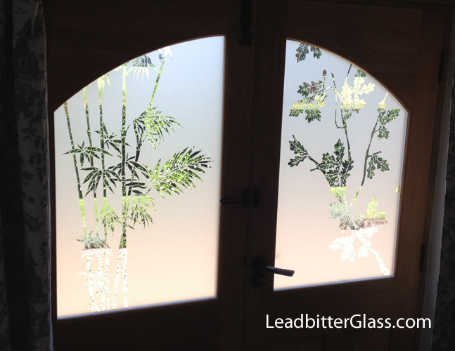 Chinese Bamboo, English oak Etched Glass Doors