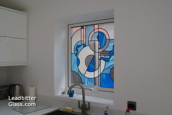 Abstract Leaded Glass Kitchen Window Rugby