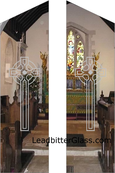 Alfie Etched Glass Crucifix Doors