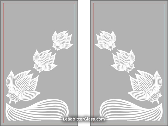 Etched Glass Lotus Flowers Serving Hatch London