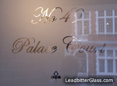 Etched glass house numbers