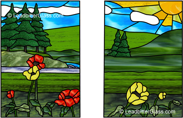 Stained Glass Landscape Panel