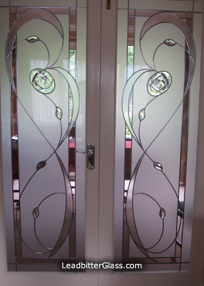 Matching Pair Of Mackintosh Bevelled Glass Panels