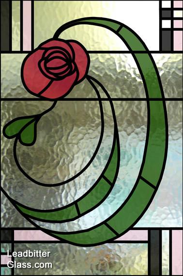 Millward Leaded Glass Rennie Mackintosh Rose Door