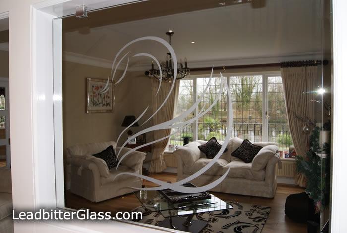 Sandblasted glass Swans for room divider