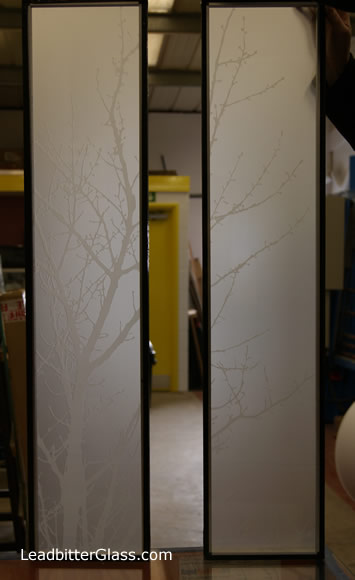 Satin Etched Glass Tree Design