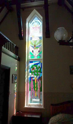 Overlay Stained Glass Church Window