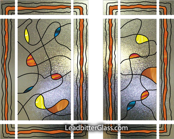 Stained Glass Abstract Door Side Panel London