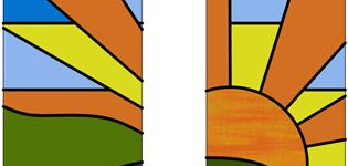Stained glass landscape sun