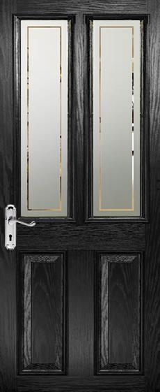 Split Glazed Etched Glass Panels Viewed In Black Door