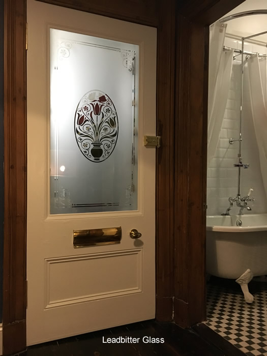 Etched Wet Room Glass Panel