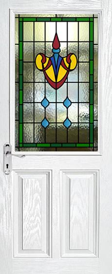 Half Glazed Leaded Glass Panels Viewed In White Doors