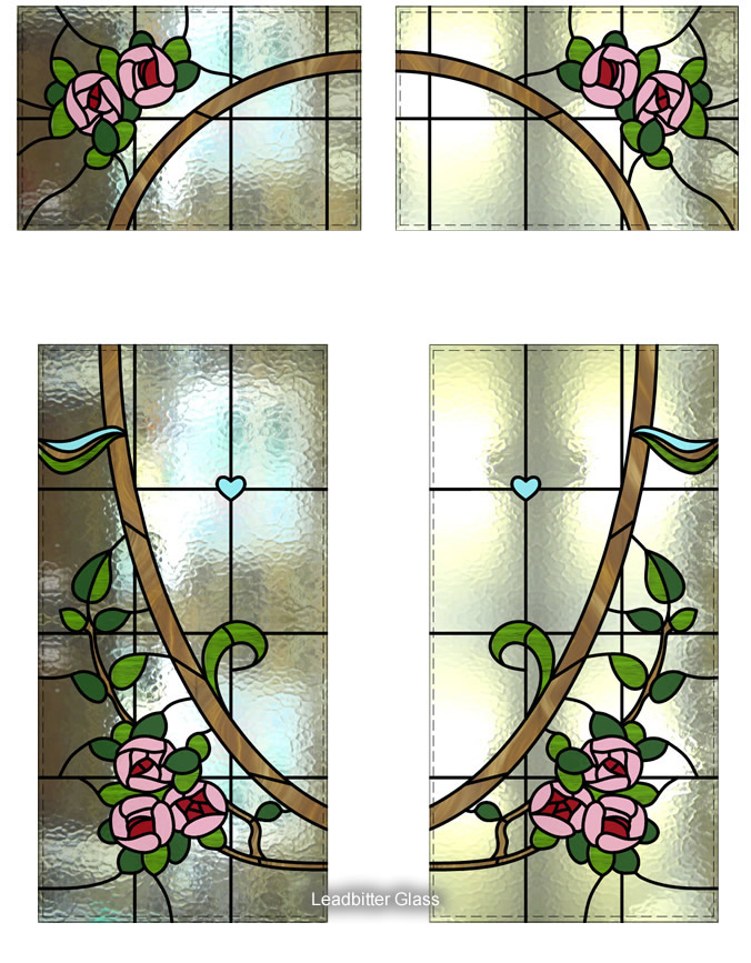 Stained Glass Roses Door Entryway