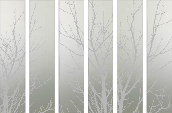 Parks Etched Satin Glass Trees For Wardrobe London