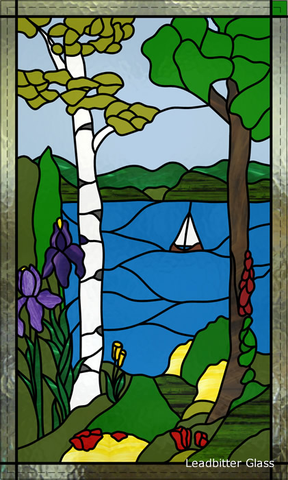 Stubbs Overlay Stained Glass Lake Scene Winchester