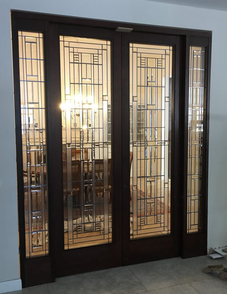 Bevelled Glass Door With Side Panels