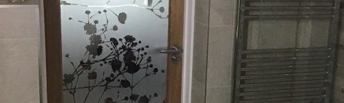 Gypsophila Etched Glass Bathroom Door