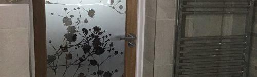 Gypsophila Etched Glass Bathroom Door