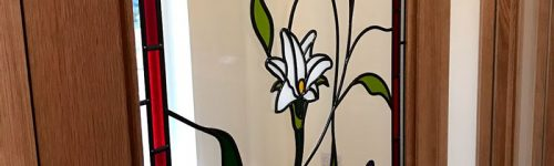 Overlay Stained Glass Door Flowers