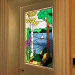 Overlay Stained Glass Door Lake Scene