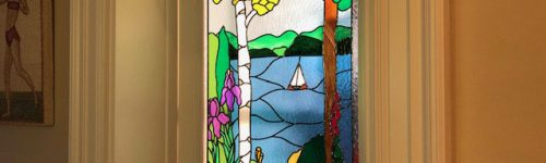 Overlay Stained Glass Door Lake Scene