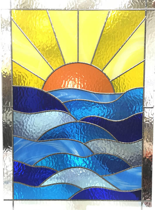Sunrise at Sea stained glass