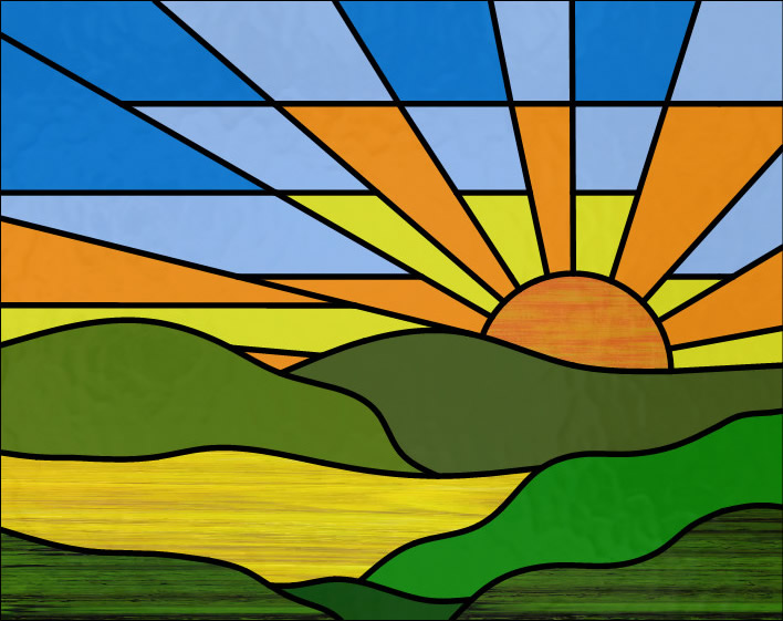 Sunrise over hills stained glass
